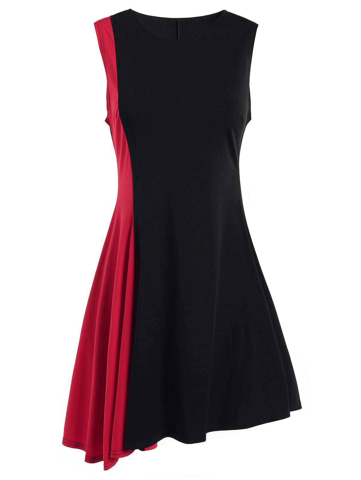 Two Tone A Line Sleeveless Dress - RED XL