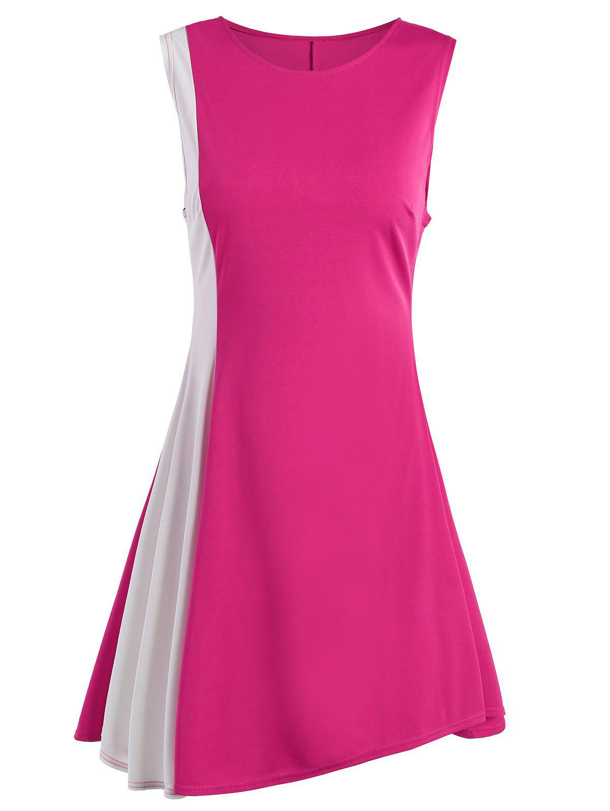 Two Tone A Line Sleeveless Dress - ROSE MADDER XL