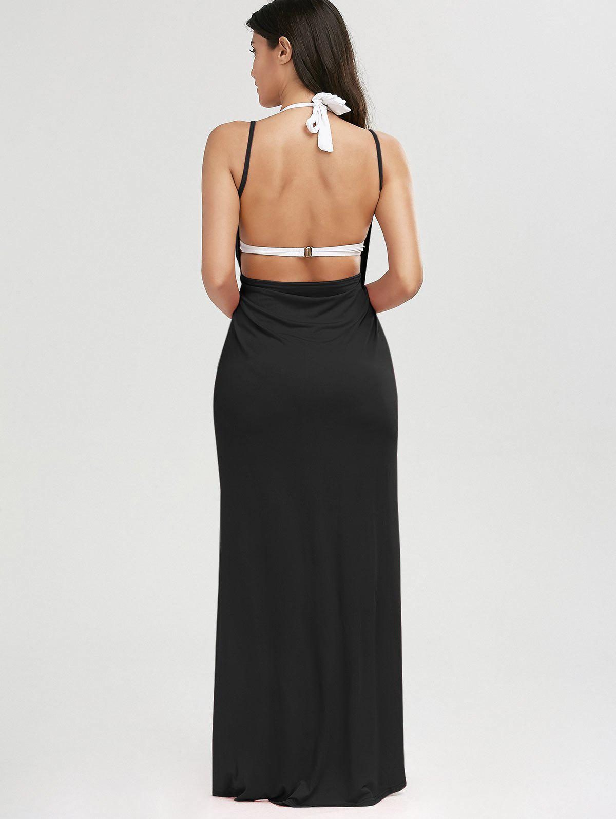 Beach Maxi Wrap Slip Dress - BLACK L
