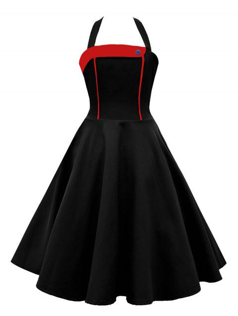 Vintage Halter Contrast Insert High Waisted Dress - RED / BLACK S