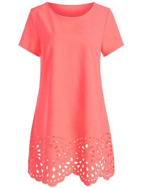 Scalloped Openwork Shift Dress - RED L