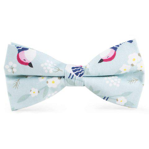 Cartoon Bird Flowers Printing Bow Tie - LIGHT BLUE