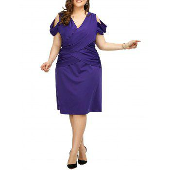 Cold Shoulder V Neck Plus Size Dress