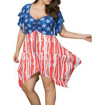 Asymmetric Patriotic American Flag Print Plus Size Dress