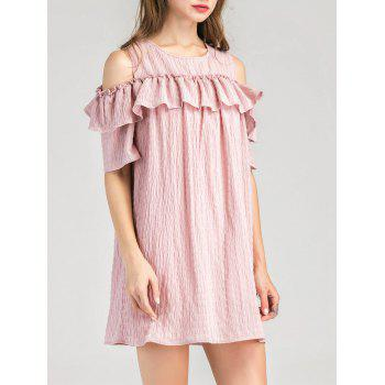 Cold Shoulder Ruffle Layer Dress - PINK PINK