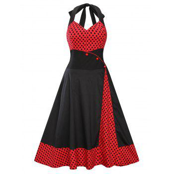 Halter Empire Waisted 50s Polka Dot Dress