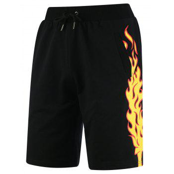 Fire Graphic Print Drawstring Sweat Shorts