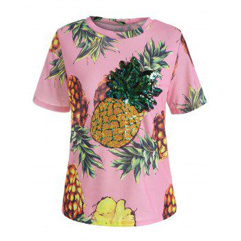 Pineapple Print Sequin Tee