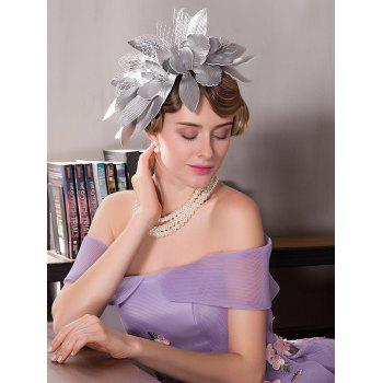 Hairpin Flower Leaves Shape Mesh Cocktail Hat