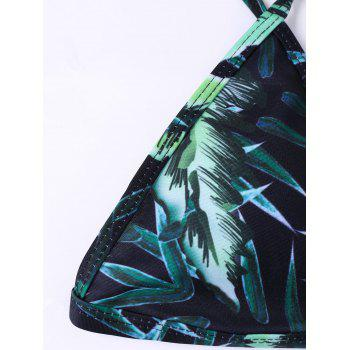 Low Waist Tropical Padded Bra Bathing Suits - GREEN GREEN