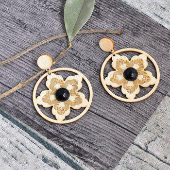 Flower Round Wooden Earrings