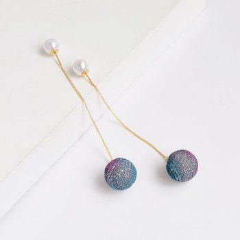 Artificial Pearl Ball Drop Long Chain Earrings