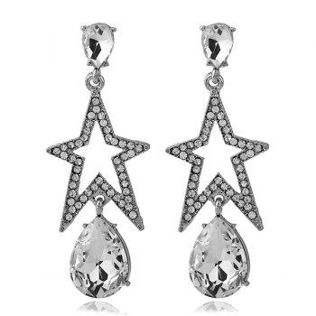 Rhinestone Faux Gemstone Teardrop Star Earrings