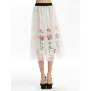 Embroidery Rose Pleated Tulle Skirt