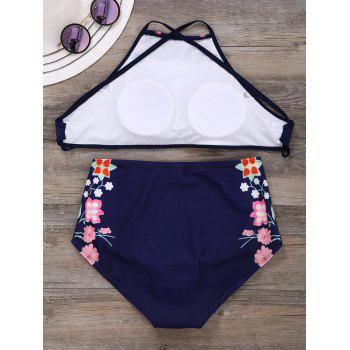 High Neck Floral Criss Cross Bikini - M M