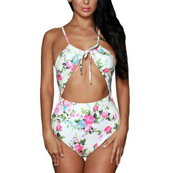 Cross Back Lace-Up Floral Swimsuit