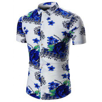 Short Sleeves Floral Plus Size Shirt