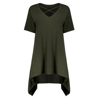 Plus Size Cutout Criss Cross Long Swing T-Shirt