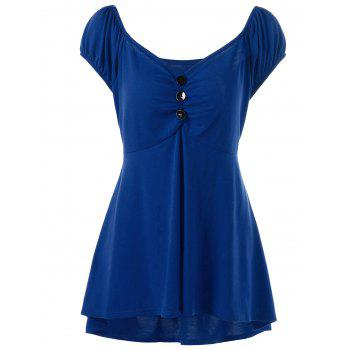 Empire Waist Plus Size T-Shirt with Button