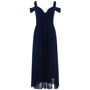 Cold Shoulder Chiffon Split Maxi Prom Evening Dress - PURPLISH BLUE S