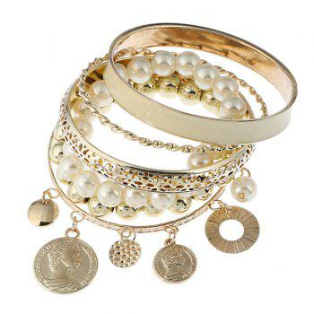 Artificial Pearl Coin Beaded Charm Bangle Bracelet Set