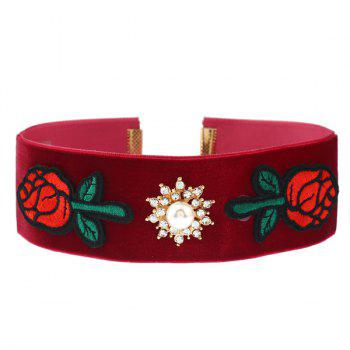 Rhinestone Rose Floral Embroidery Choker Necklace