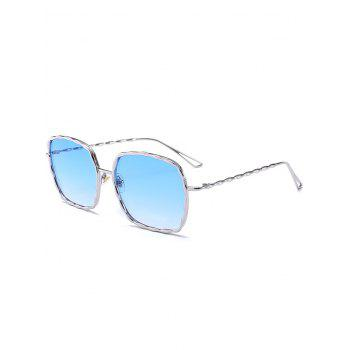 Rectangle Metallic Wavy Frame Hollow Out Leg Sunglasses