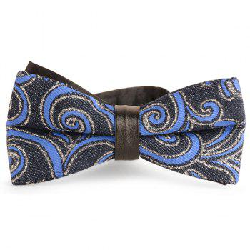Cirrus Printed Layered Denim Bow Tie - ROYAL ROYAL