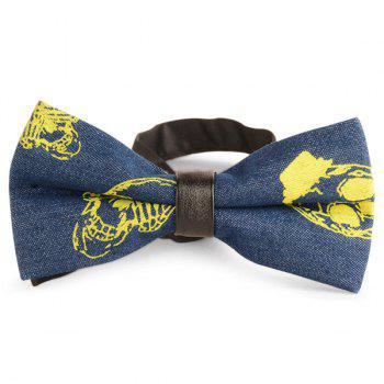 Skull Printing Denim Layered Bow Tie - YELLOW YELLOW