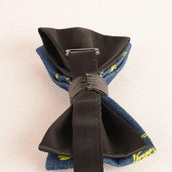 Skull Printing Denim Layered Bow Tie -  YELLOW
