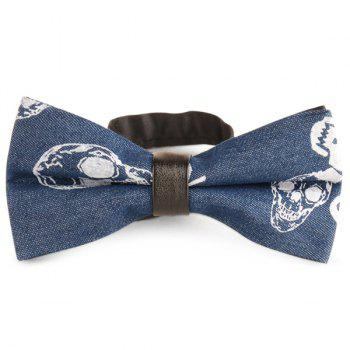 Skull Printing Denim Layered Bow Tie