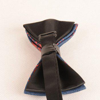 Skull Printing Denim Layered Bow Tie -  RED