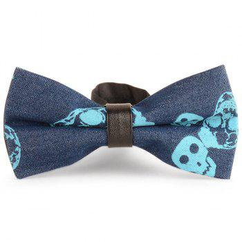 Skull Printing Denim Layered Bow Tie - BLUE BLUE