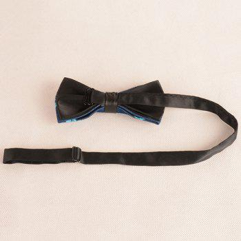 Skull Printing Denim Layered Bow Tie -  BLUE