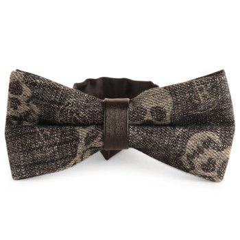 Layer Nostalgic Skull Printed Denim Bow Tie - SMOKY GRAY SMOKY GRAY