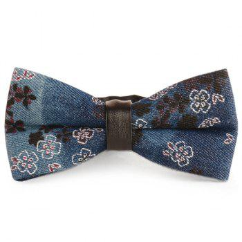 Denim Layered Tiny Flowers Printed Bow Tie - CADETBLUE CADETBLUE