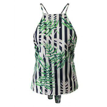 Bamboo Leaf Print Backless Cami Tank Top