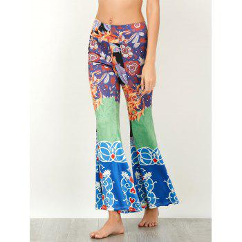 Baroque Print High Waist Flared Pants