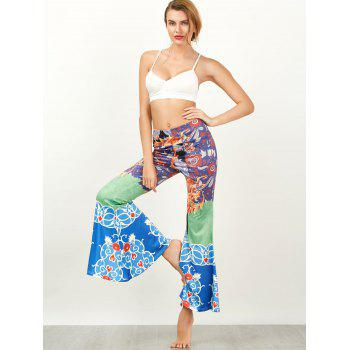 Baroque Print High Waist Flared Pants - COLORMIX L