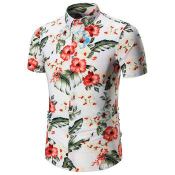 Floral Print Short Sleeves Plus Size Shirt