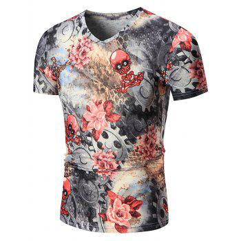 Skeleton and Flower Printed V Neck Tee
