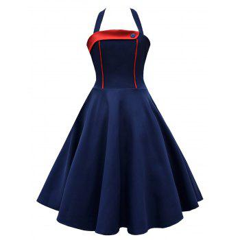 Vintage Halter Contrast Insert High Waisted Dress