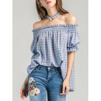 Plaid Off The Shoulder Blouse with Choker