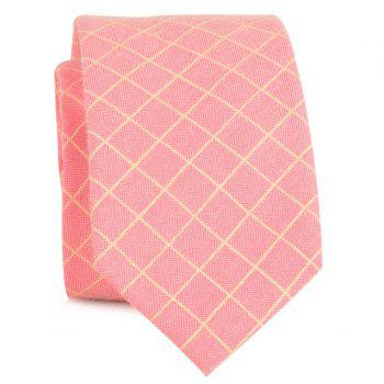 Plaid Cotton Blended Tie - PEACH RED PEACH RED