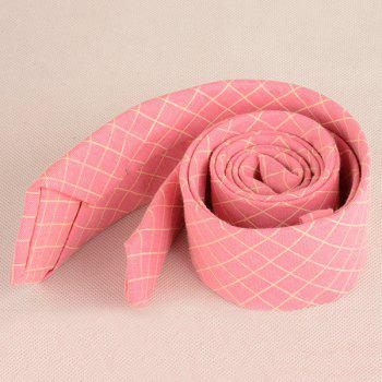 Plaid Cotton Blended Tie -  PEACH RED