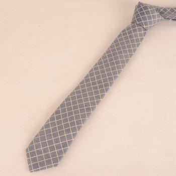 Plaid Cotton Blended Tie -  CADETBLUE