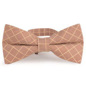 Checked Cotton Blending Bow Tie - LIGHT KHAKI LIGHT KHAKI