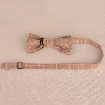 Checked Cotton Blending Bow Tie -  LIGHT KHAKI