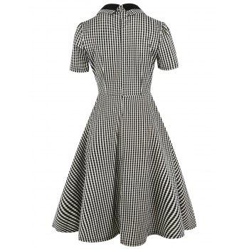 Vintage Bowknot Button Embellished Plaid Dress - CHECKED 2XL