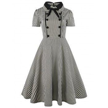 Vintage Bowknot Button Embellished Plaid Dress